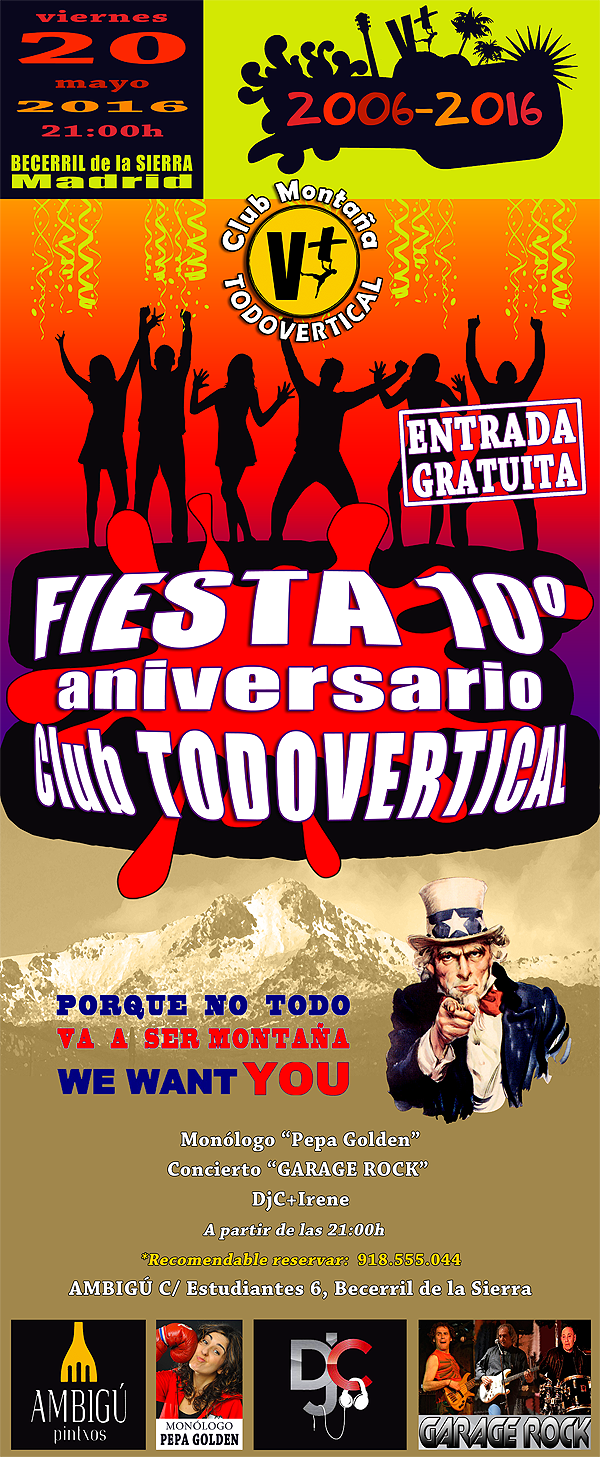 CARTEL FIESTA 10º ANIVERSARIO Club TODOVERTICAL - 20 MAYO 2016