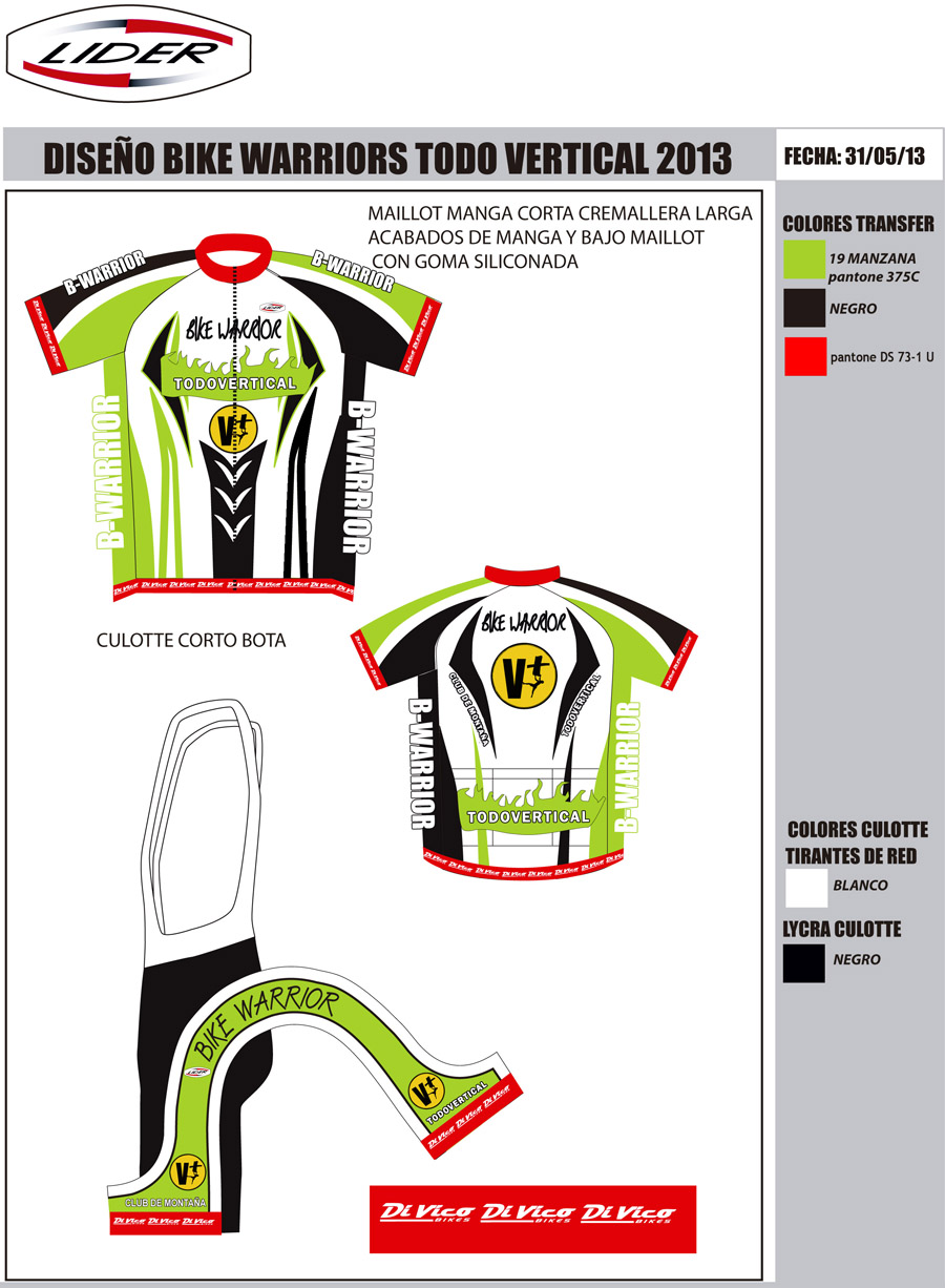 EQUIPACIÓN CICLISMO BIKE WARRIOR 2013 by TODOVERTICAL 2013